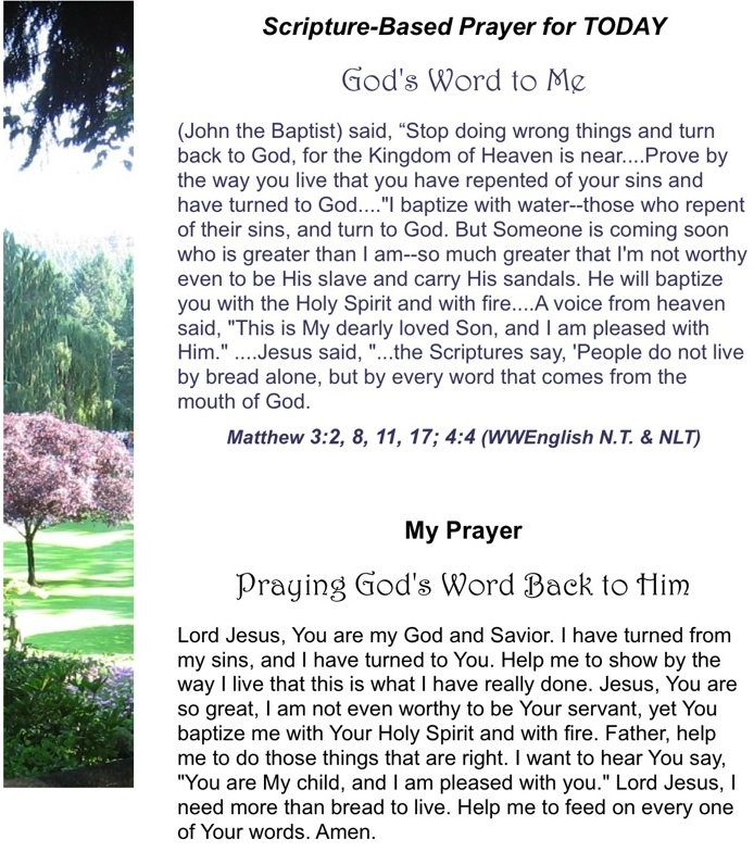 God s word back to him power of prayer praying scripture prayer